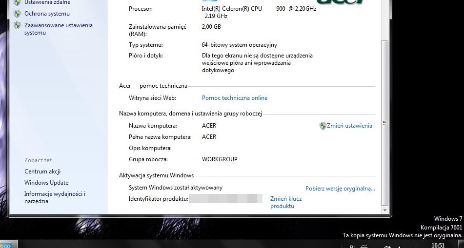 windows 7 ta kopia systemu nie jest oryginalna